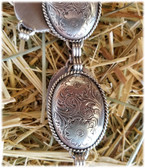 Tony Lama Ladies Silver Engraved Concho Belt adjustable: comes in small med large (in-store-only KC)