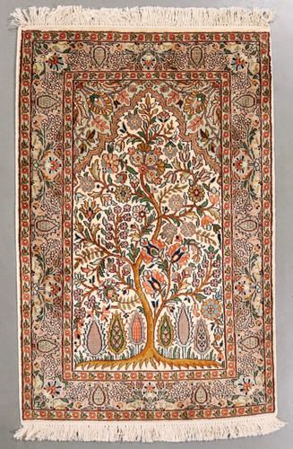 Tree of Life Kashmir Pure Silk Rug (Ref 0654) 93x48cm