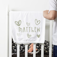 Personalised 'Heart' Baby Blanket