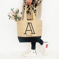 Personalised 'Initial' Black Jute Bag