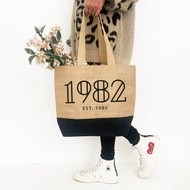 Personalised 'Year' Black Jute Bag