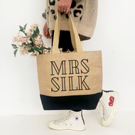Personalised 'Mrs Or Mr' Black Jute Bag