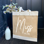 Personalised 'Mrs/Miss Or Teacher' Jute Bag