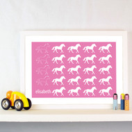 Personalised Field of Horses Poster