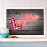 Personalised Live Love Laughter Neon Poster