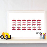 Personalised Field of Cars Poster