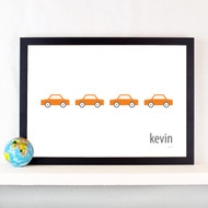Personalised Line of Cars Poster