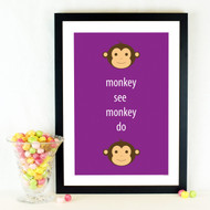 Personalised Monkey See Monkey Do Poster