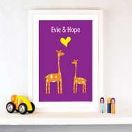 Personalised Giraffe Sweethearts Poster