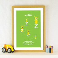 Personalised Sleepy Bedbugs Poster