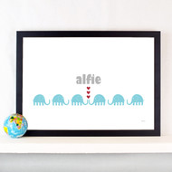 Personalised Elephant Train Poster