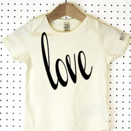 'Love' Organic Cotton Babygrow or Jumpsuit
