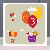 Personalised Age Three Birthday Greeting Card