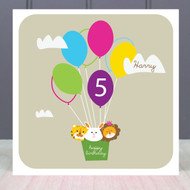 Personalised Age Five Birthday Greeting Card
