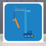 Personalised Age One Builders Birthday Greeting Card