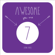 Awesome 7 Birthday Greeting Card