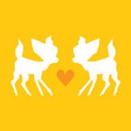 Yellow love bambi Greeting Card