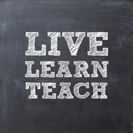 Live learn teach chalkboard Greeting Card