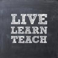 Live learn teach chalkboard Greeting Card