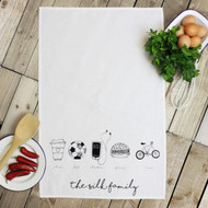Personalised 'Hobbies Hand Drawn' Tea Towels