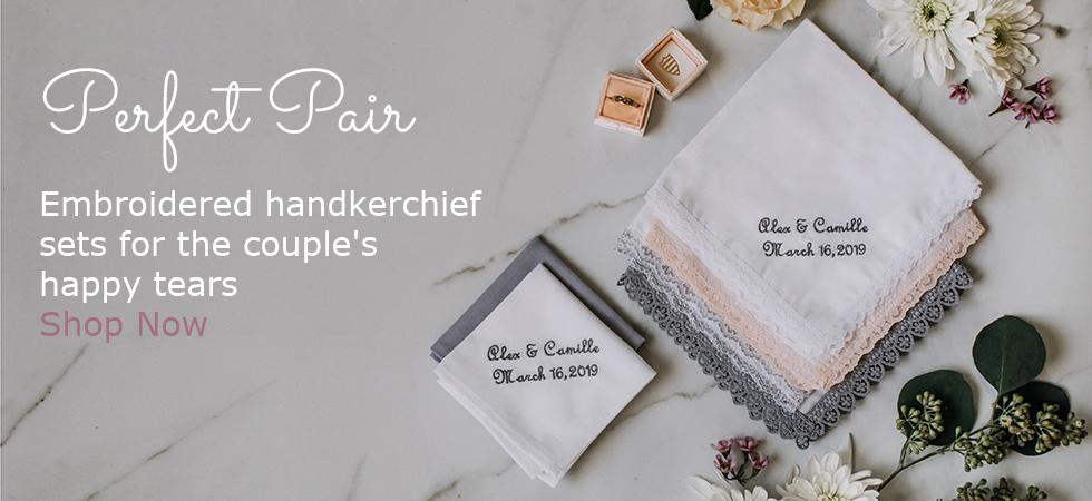 Wedding Handkerchiefs for the bride and groom