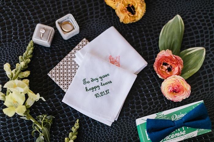 Men's embroidered wedding handkerchief