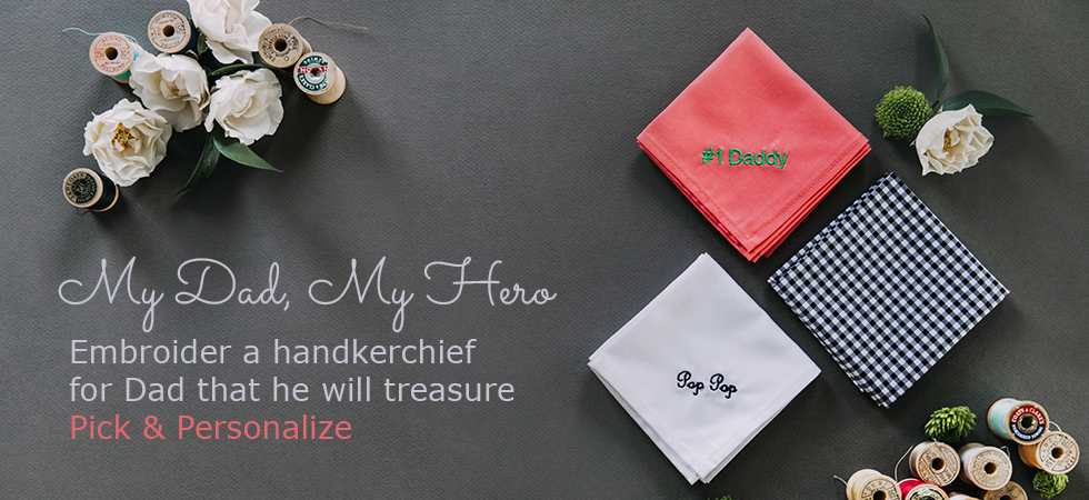 Monogrammed Handkerchief for Father's Day