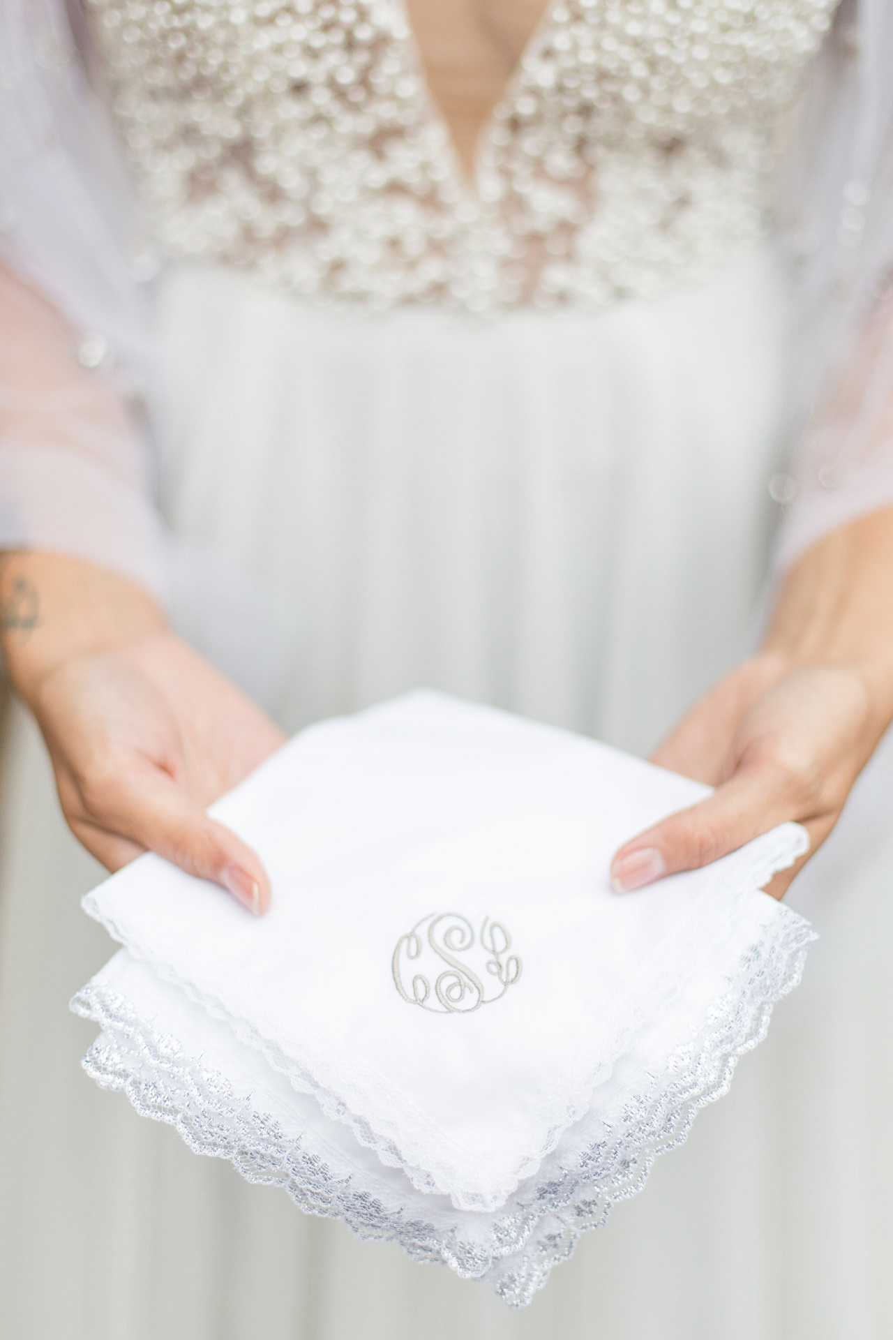 Silver lace monogrammed handkerchief