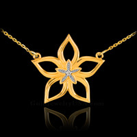 14k Gold Diamond Star Flower Necklace