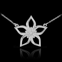 14k White Gold Diamond Star Flower Necklace