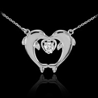14k White Gold Two Dolphins CZ Necklace