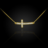 Curved Cute Diamond Sideways Cross Gold Necklace