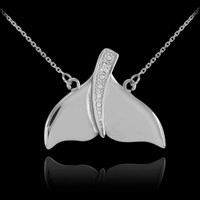 14k White Gold Diamond Whale Tail Necklace