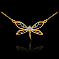 14k Gold Diamond Dragonfly Filigree Necklace