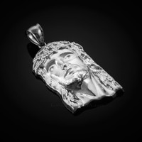 White Gold Jesus Face Pendant