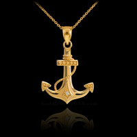 Gold Anchor Diamond Pendant Necklace