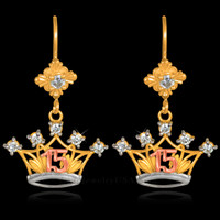 Gold Quinceanera Crown CZ Earrings