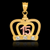Gold Quinceanera Crown CZ Pendant