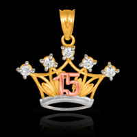 Multi-tone Gold Quinceanera Crown CZ Pendant