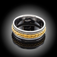 Hand Braided Two-tone White & Yellow Gold Wedding Band