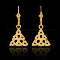 Gold Celtic Trinity Earrings