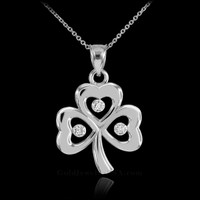 White Gold 3-Leaf Diamond Shamrock Clover Pendant Necklace