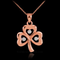 Rose Gold 3-Leaf Diamond Shamrock Clover Pendant Necklace