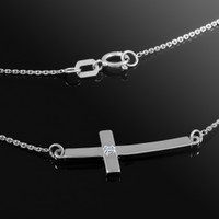 14k white gold sideways cross diamond necklace