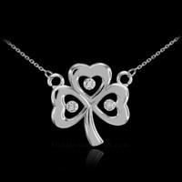 14K White Gold 3-Leaf Diamond Shamrock Clover Necklace