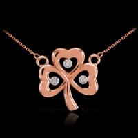 14K Rose Gold 3-Leaf Diamond Shamrock Clover Necklace