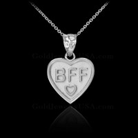 White Gold 'BFF' Heart Pendant Necklace