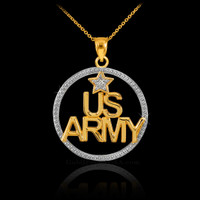 Gold US ARMY Diamond Pendant Necklace