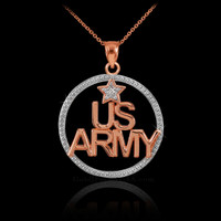 Rose Gold US Army diamond necklace