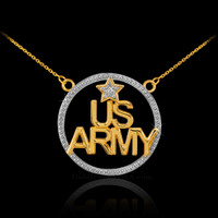 14k gold US Army diamond necklace